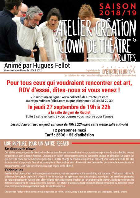 """Atelier Création """"Clowns de théâtre """" (Adultes)"""